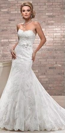 Trumpet Style Lace Wedding Gown with crystal embellishment