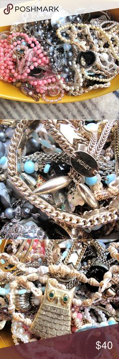 Huge vintage costume jewelry bundle Estate constum jewelry bundle. Monet, some items unsigned, shell necklaces, all sorts of fun stuff. Vintage Jewelry
