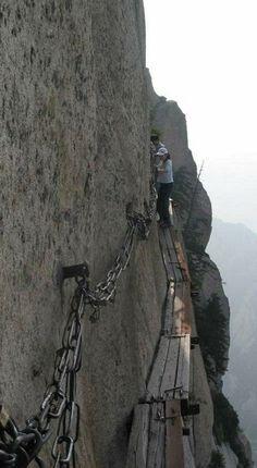 Walk to the top of Huashan Mountain in China.