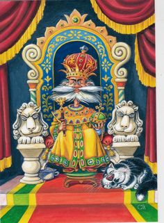 VERY RARE King on the throne cat fairy tale by Solovyov Russian modern postcard   eBay
