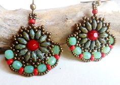 Red and Turquoise Earrings Beadwork Earrings by DandasCollection