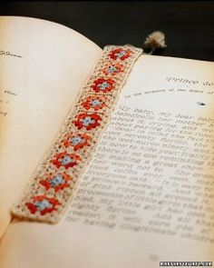bookmark and more - granny squares with embroidery thread | Martha Stewart