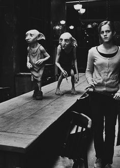 Dobby, Kreacher and Hermione in the kitchen of Grimmauld Place