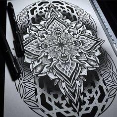 Brand New Mandala Sketchwork From Otheser! #mandala #dotwork #blackwork #dotism #sketch #artwork #design