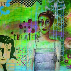 """(c) Artelisabeth 2015 - Im Theater - Painting of the series """"Weibsbilder""""  Gemälde aus der Serie """"Weibsbilder""""  More art: www.artelisabeth.wordpress.com"""