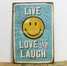 Aliexpress.com : Buy Live Love And Laugh Home Decor Wall Sticker Decor Iron Retro Tin Metal Signs Plaques Living Room Bedroom Bar Cafe from Reliable sign suppliers on Stylish Home Living Museum  | Alibaba Group