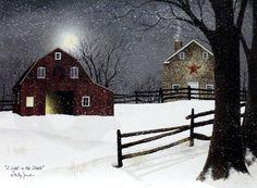 A Light in the Stable Framed Art by Billy Jacobs Billy Jacobs Prints, Illustrations, Illustration Art, Snow In Summer, Farm Art, Landscape Paintings, Landscapes, Barn Paintings, Small Paintings