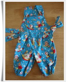 Rocket Rascal dungarees in vintage style Michael Miller fabric by Tabitha's Treasure Chest.