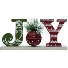 Spread a little joy to the world with this festive tabletop Christmas decoration! Painted in holiday green and red, the word block spells ou...