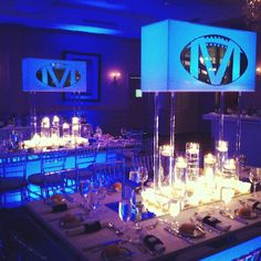 Candlelit bar mitzvah with lighted boxes Bar Mitzvah Decorations, Bat Mitzvah Centerpieces, Bar Mitzvah Themes, Bar Mitzvah Party, Bar Mitzvah Invitations, Party Centerpieces, Party Invitations, Adult Birthday Party, Baseball Birthday
