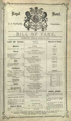 Hotel and restaurant menus of the 1850s and 1860s - Album on Imgur