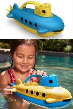 Take the helm of this sunny yellow submarine by Green Toys USA and go on a wonderful under the sea adventure to save the planet. The finish of this toy is gorgeous, it feels dappled and warm just like a plastic milk bottle! Plastic Milk Bottles, Adventure Of The Seas, Green Toys, Beach Toys, Yellow Submarine, Save The Planet, Under The Sea, Planes, Boats