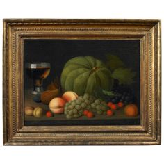 Still Life of Fruit on a Console | From a unique collection of antique and modern paintings at https://www.1stdibs.com/furniture/folk-art/paintings/