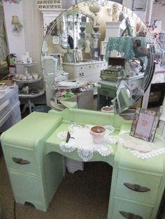 waterfall vanity in green_full. Vanity Redo, Old Vanity, Antique Vanity, Vintage Vanity, Vanity Ideas, Makeup Vanity Tables, Antique Dressers, Distressed Furniture, Vintage Furniture