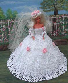 Crochet Patterns Clothes Crochet Fashion Doll Barbie Pattern 22 by JudysDollPatterns Crochet Doll Dress, Crochet Barbie Clothes, Crochet Doll Pattern, Crochet Patterns, Barbie Wedding Dress, Barbie Gowns, Barbie Dress, Doll Dresses, Barbie Patterns