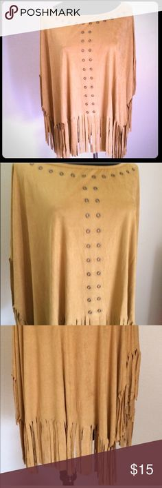 Soft faux suede Poncho fringed & embellished Soft faux suede Poncho fringed, embellished, made in the USA .        sizes Left are. 2=S. 1=M  2=L , please let me know your size in the comment section Tops