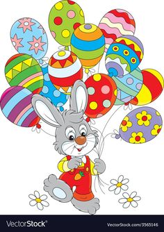 Easter Bunny with balloons vector image on VectorStock Easter Bunny, Easter Eggs, Easter Cartoons, Easter Wallpaper, Cars Coloring Pages, Colourful Balloons, Winter Crafts For Kids, Cartoon Images, Spring Cartoon