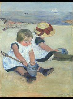 Mary Cassat, Niños jugando en la playa 1884, esta pintora ya expuso en París con los impresionistas franceses y ocupa un lugar esencial en la historia del impresionismo norteamericano.