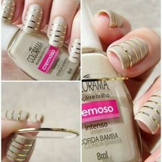 neutral and metallic striped #nails