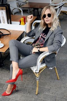 all grey everything office outfit mixed with red pumps to buy on Amazon