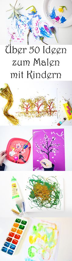 Kita 50 ideas for painting with children at school, at home, in kindergarten. - basteln - Welcome Crafts Kids Crafts, Home Crafts, Diy And Crafts, Craft Projects, Arts And Crafts, Preschool Learning, Kids Corner, Creative Kids, Painting For Kids