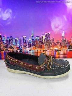 Womens shoes SEBAGO Docksiders boat navy brown leather $95 classics sz 7.5 M