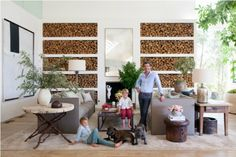 In Patrick Dempsey's Frank Gehry–designed Malibu home, a sculpture by the actor's wife, Jillian, takes center stage on the living room's cocktail table. Living Room Colors, Living Room Paint, Small Living Rooms, Living Room Designs, Living Room Decor, Patrick Dempsey, Cozy Fireplace, Living Room With Fireplace, Fireplace Design