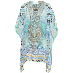 Camilla Sultans Gate-print silk kaftan ($500) ❤ liked on Polyvore featuring tops, tunics, blue multi, embellished tunic, blue tunic, camilla caftan, caftan tops and print tunic