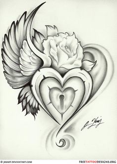 wing heart lock rose tattoo flash