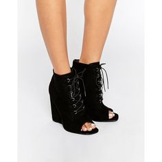 ASOS ELIS Lace Up Wedge Boots ($73) ❤ liked on Polyvore featuring shoes, boots, black, high wedge boots, black laced boots, wedge shoes, peep-toe boots and lace up peep toe boots
