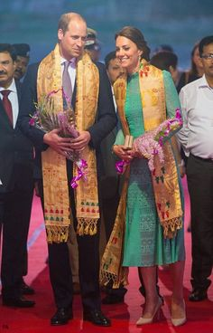 Duchess Kate: The royals were greeted by the chief minister of Assam state, Tarun Gogoi, and his wife, Dolly, who presented them with 'gamochas' – or traditional hand-woven scarves – which are reserved for special guests in Assamese culture.