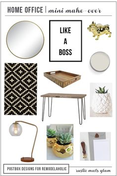 Create the Perfect Home Office by Postbox Designs for Remodelaholic, Rustic Glam Budget Friendly Home office decor, E-design