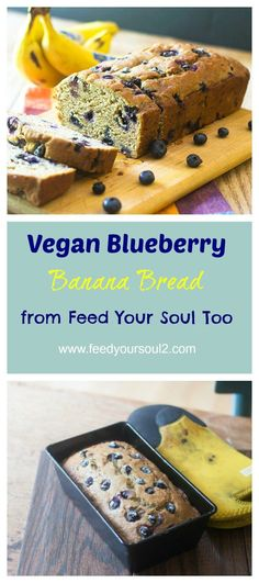 Vegan Blueberry Banana Bread from Feed Your Soul Too (Paleo Vegetarian Blueberries Muffins) Brownie Desserts, Oreo Dessert, Mini Desserts, Coconut Dessert, Vegan Desserts, Vegan Recipes, Dessert Recipes, Vegan Blueberry Recipes, Bread Recipes