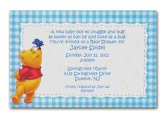Winnie the Pooh Blue Gingham invitations.  can be used as Baby Shower invitations, birthday Christenings etc.  by www.TCWDESIGNS.com Disney Invitations, Birthday Party Invitations, Baby Shower Invitations, Birthday Parties, Invites, Christening Invitations, New Baby Boys, Blue Gingham, Youre Invited