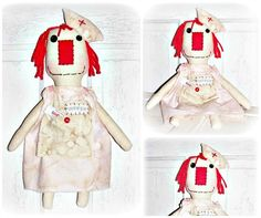 HANDMADE NURSE ANNIE Doll Folk Art Raggedy by FosterChildWhimsy