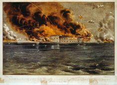 Fort Sumter burns in Charleston South Carolina harbor in April 1861 at start of War Between the States