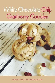 The BEST White Chocolate Chip Cranberry Cookies you will ever taste. White Chocolate Chip Cranberry Cookies, White chocolate cookies, Easy cookie recipe, Cranberry White Chocolate Chip Cookies, Chewy cookies. For more recipes, check out: www.onlygirl4boyz