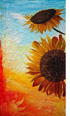 "This is an original hand painted silk appliqued art quilt. The sunflowers & the petals were all individually painted and then appliqued onto the quilt. I used thread painting to add further details. Machine free motion quilting was used to create pattern and the ""sunset"" at the bottom left of quilt. Other topics you may…"