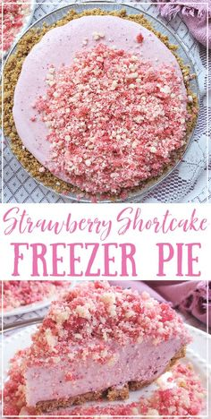 Frozen Desserts, Easy Desserts, Delicious Desserts, Yummy Food, Frozen Strawberry Desserts, Strawberry Pie, Homeade Desserts, Frozen Pies, Strawberry Shortcake Ice Cream