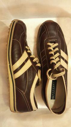 SKECHERS. brown beige leather sneakers. 02391ae57