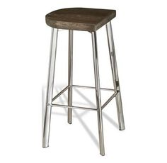 Xenia Rustic Wood and Stainless Steel Counter Stool