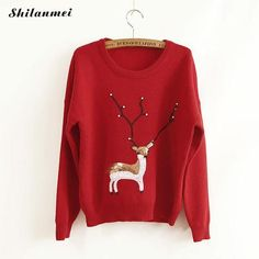 7f1614d6f1 2017 Ugly Sweater Rabbit Hair Women Knitted Animal Prints Pullover Sweater  Warmer Winter Reindeer Christmas -