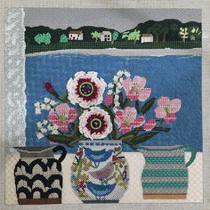 needlepoint flowers in vases, designer unknown
