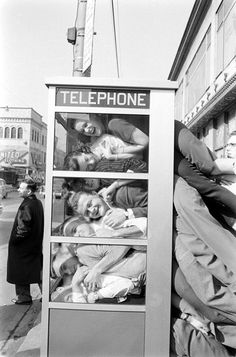 """Phone Booth Cramming - LIFE. images by Robert W. Kelley, a LIFE magazine photographer who documented one """"legs-out"""" attempt by a bunch of college boys in 1959"""