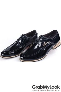 GrabMyLook Black Vintage Leather Lace Up Wood Sole Mens Oxford Shoes Sneakers