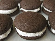 **whoopie pie filling** ~ FILLING: 1 stick butter 1 c. Beat butter, Crisco, sugar and vanilla with electric mixer. Fold in marshmallow fluff. Spread between Whoopie Pie cakes. Amish Recipes, Pie Recipes, Sweet Recipes, Cookie Recipes, Cupcakes, Cake Cookies, Cupcake Cakes, Sandwich Cookies, Shortbread Cookies