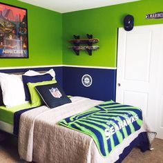 Jason's Bedroom - Seattle Seahawks, Seattle Mariners, Gamer, Skater Boy theme