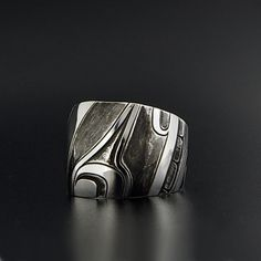 """Abstract Sterling Silver Ring by Kwakwaka'wakw Artist Clinton Work. Size 9 1/2, 3/4"""" width. With Oxidization."""