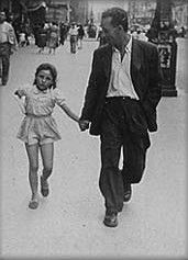 """Merleau-Ponty and his daughter on a walk. The young daughter is vulnerable because of her small size and limited experience, in comparison, her dad is strong and understanding. When she is with her father she is less concerned with things that would otherwise scare her, and more able to experience the diverse bustle of the city. Bone of my bone flesh of my flesh. """"The flesh we speak of is not mater. It is the coiling over of the visible upon the seeing body of the tangible upon the touching…"""