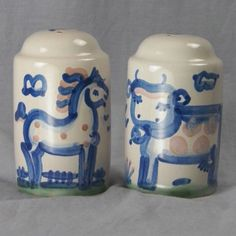 """M.A. Hadley Painted Cow & Horse Handmade Ceramic Salt And Pepper Shakers 4 1/2"""""""